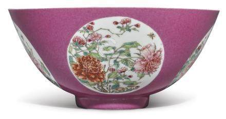 A FINE RUBY-GROUND 'FLORAL' MEDALLION BOWLTHE PORCELAIN YONGZHENG MARK AND PERIODTHE ENAMELS LATER-ADDED