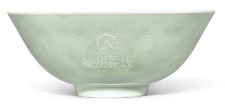 AN INCISED 'WINTERGREEN'-GLAZED 'FLORAL' BOWL QIANLONG SEAL MARK AND PERIOD