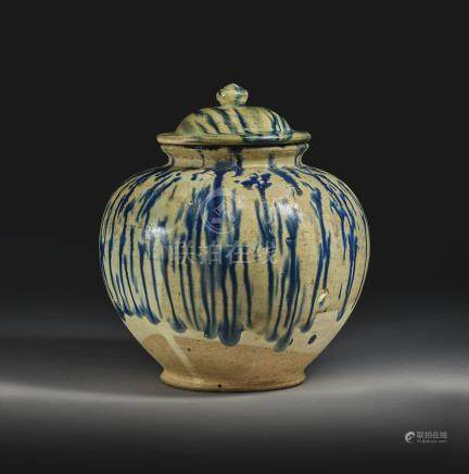 A BLUE-SPLASHED POTTERY JAR AND COVERTANG DYNASTY