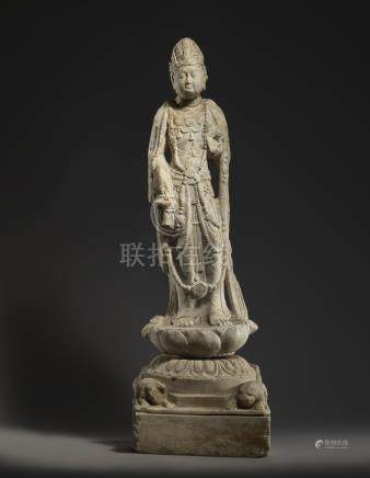 A LARGE AND RARE WHITE MARBLE CARVING OF A BODHISATTVATANG DYNASTY