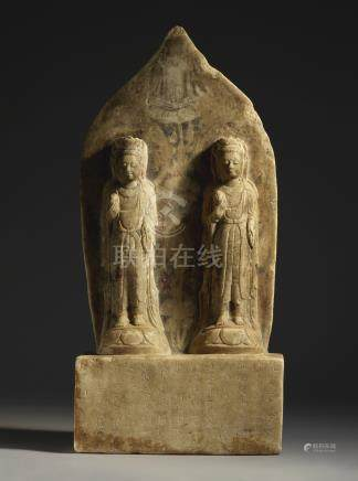 A PAINTED MARBLE DOUBLE BODHISATTVA STELENORTHERN QI DYNASTY, DATED TO THE FIRST YEAR OF THE QIANMING PERIOD, CORRESPONDING TO 560