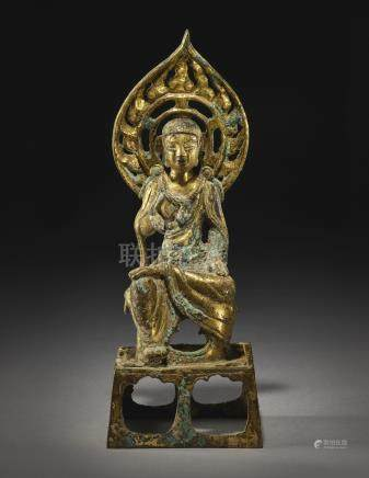A GILT-BRONZE FIGURE OF A SEATED BODHISATTVASUI / TANG DYNASTY