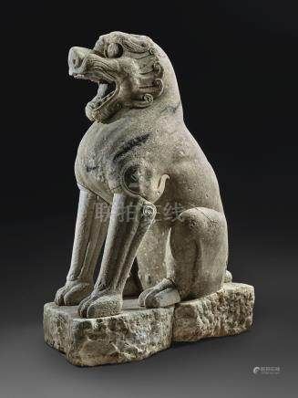 A MAGNIFICENT LARGE WHITE MARBLE LIONNORTHERN QI DYNASTY