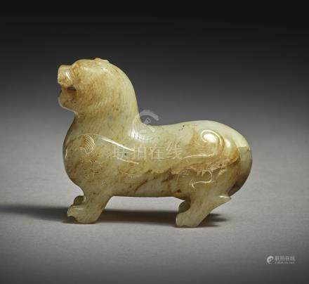AN EXCEPTIONALLY RARE BEIGE JADE CARVING OF A MYTHICAL BEASTHAN DYNASTY - SIX DYNASTIES