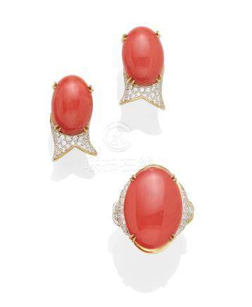 A coral, diamond and 18K gold ring and ear clip set