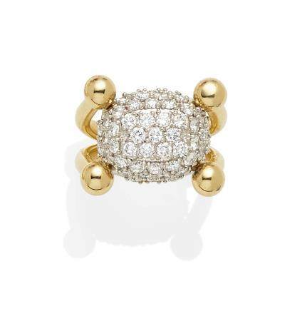 A diamond, platinum and 18k gold ring