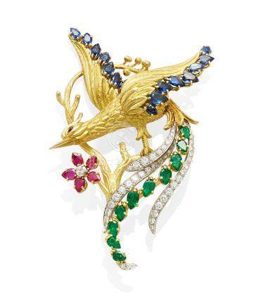 A diamond, gem-set gold and platinum 'Bird of Paradise' clip, Charles Vaillant