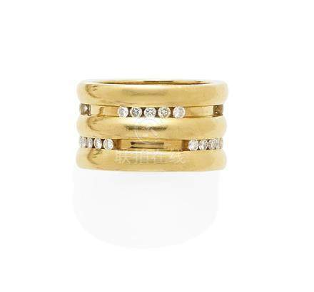 A Diamond and 18k Gold Band, Chaumet, Paris, French