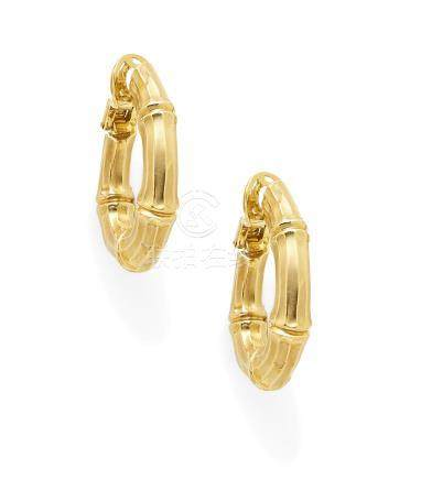 A pair of 18k gold 'bamboo' ear clips,  Cartier, French