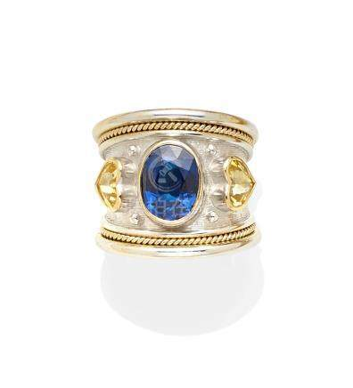 A sapphire, colored sapphire and 18k bi-color gold ring, Elizabeth Gage, London,