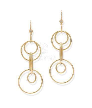 A pair of diamond and 18k gold 'Mini Jet Set' earrings