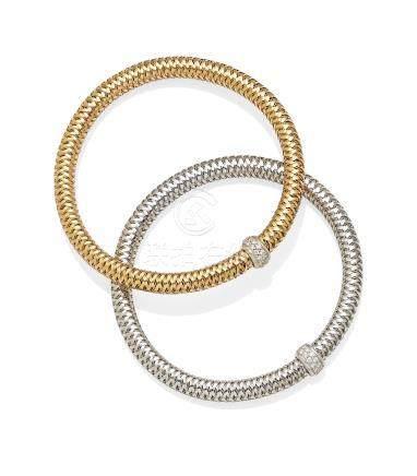 A pair of diamond, ruby, 18K rose and white gold 'Primavera' flex bracelets