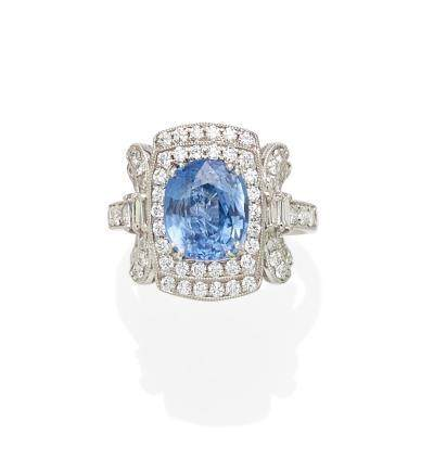 A sapphire, diamond and platinum ring