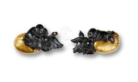 Four pairs of Menuki Edo period (1615-1868), 18th/19th century