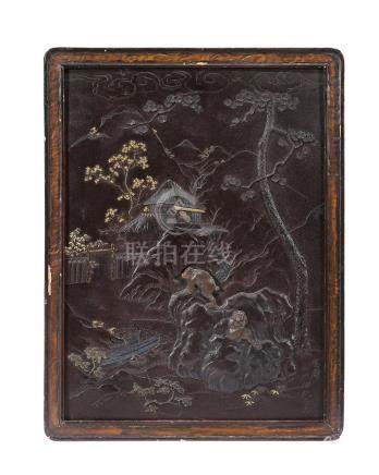 Yoshitsugu (active late 19th century) An inlaid-iron panelMeiji era (1868-1912), late 19th century