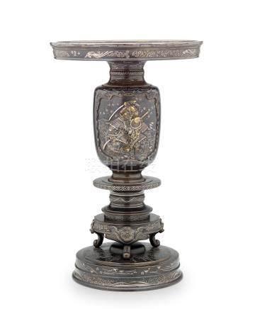 Hiraishi Atsuchika (active circa 1880) An impressive inlaid bronze usubata (flower vase)Meiji era (1868-1912), late 19th century