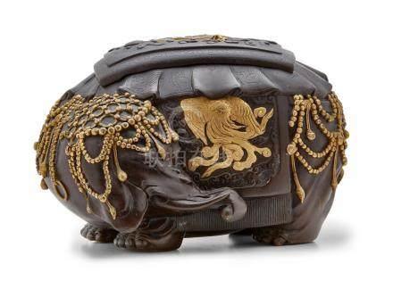 An inlaid bronze incense burner Meiji era (1868-1912), late 19th century