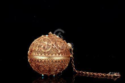 Qing Gilt Silver Cloisonné 'Globe' Lamp
