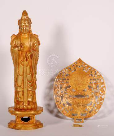 A Liao Pure Gold Carving Figure of Guanyin