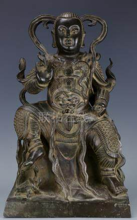 A Qing Bronze Figure of Zhenwu Emperor