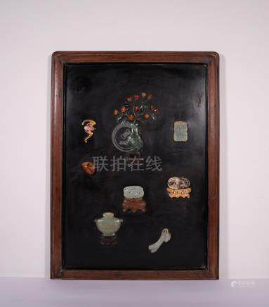 Qing Lacquer 'Hundred Treasures' Hanging Screen