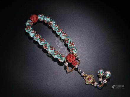 Qing Turquois Enclosed Chenxiang Bracelet