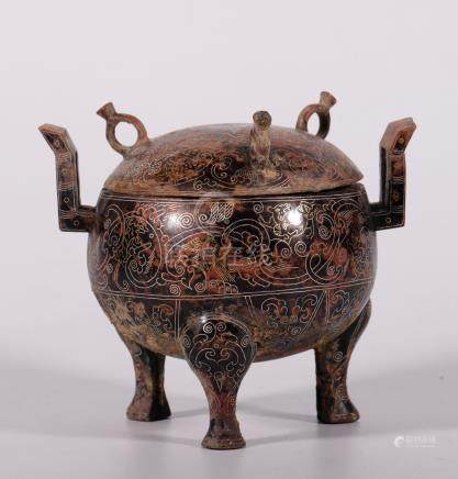 Warring States Gold And Silver-Inlaid Vessel, Ding