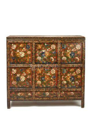 A RARE AND LARGE TIBETAN LACQUERED HARDWOOD CABINET, 19…
