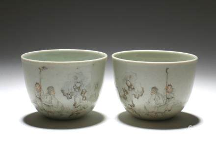 Pair of Chinese Famille-Rose Porcelain Cups