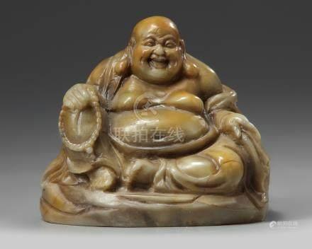 A Chinese soapstone Budai