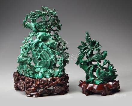Two Chinese malachite carvings