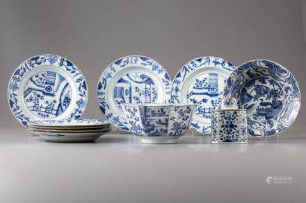 A group of ten Chinese blue and objects