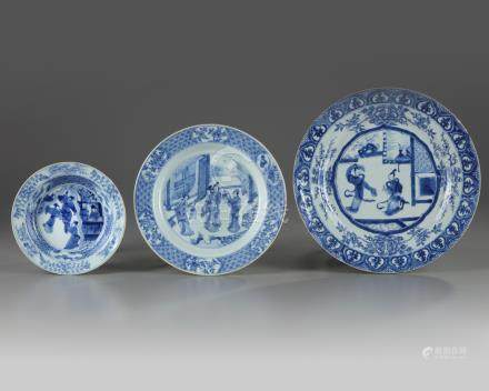 Three Chinese blue and white 'Romance of the Western Chamber' dishes
