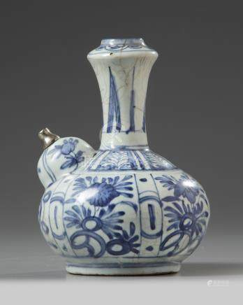 A silver-mounted Chinese blue and white kendi