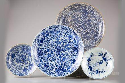 Four Chinese blue and white dishes