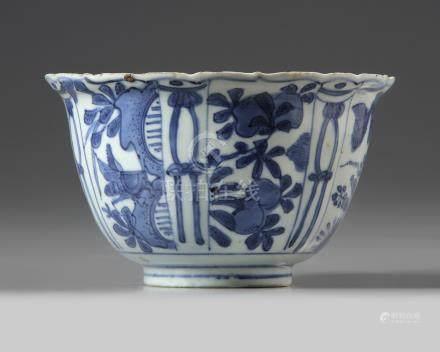 A blue and white 'kraak' porcelain bowl