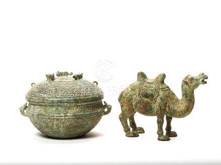A TANG STYLE BRONZE CAMEL AND A WARRING STATES BRONZE V…
