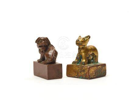 TWO CHINESE SEALS, HAN DYNASTY AND LATER