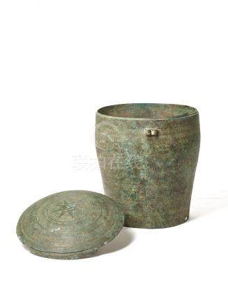 A LARGE AND RARE BRONZE FOOD STORAGE VESSEL, SONG DYNAS…