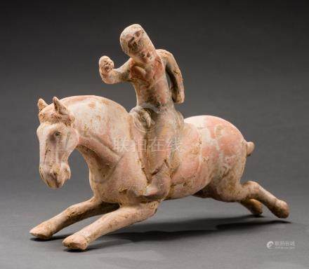RUNNING HORSE WITH FEMALE POLO PLAYER