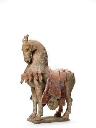 A LARGE AND RARE TERRACOTTA PRANCING HORSE, SUI DYNASTY…