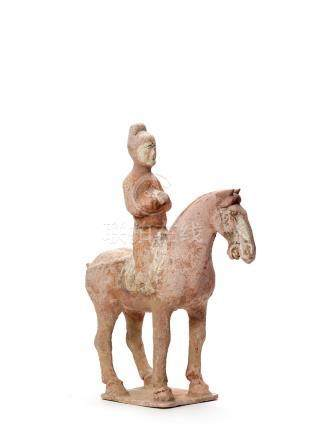 A LARGE TERRACOTTA RIDER ON HORSE, TANG DYNASTY (618 90…