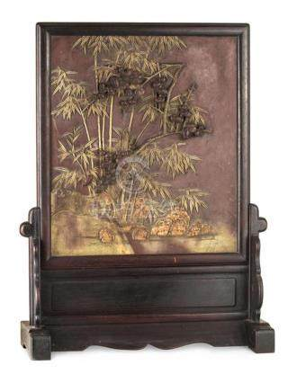 A 'Duan' stone 'prunus and bamboo' table screen Qing dynasty