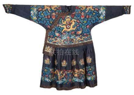 A dark blue ground formal 'dragon' robe, Chaofu Qing dynasty
