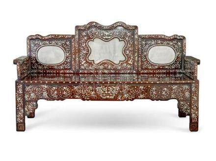 A mother of pearl and marble inlaid hardwood sofa, 20th cent