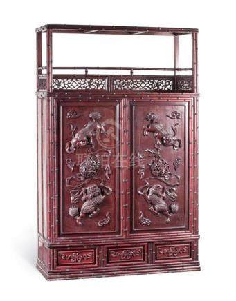 A simulated bamboo hardwood cabinet, early 20th century 157