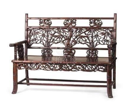 A 'bamboo and prunus' hardwood sofa, 19th/20th century 102 c