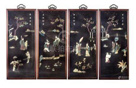 A set of four embellished lacquer panels Qing dynasty, late