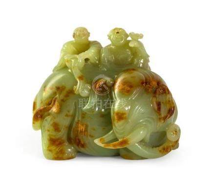 A carved green jade 'boys and elephant' group, 19th/20th cen