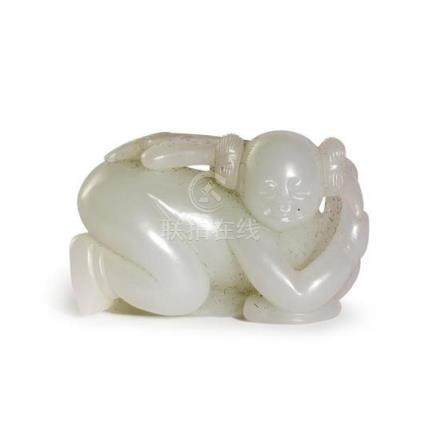 A white jade carving of a boy Qing dynasty 4.5 cm long